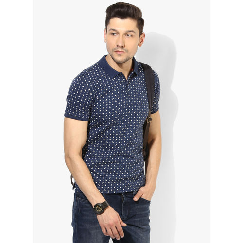 Pepe Jeans Navy Blue Printed Regular Fit Polo T-Shirt