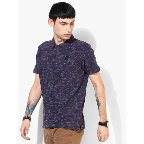 Pepe Jeans Navy Blue Textured Regular Fit Polo T-Shirt