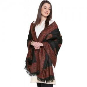 Weavers Villa Black Pashmina Wool Printed Shawl