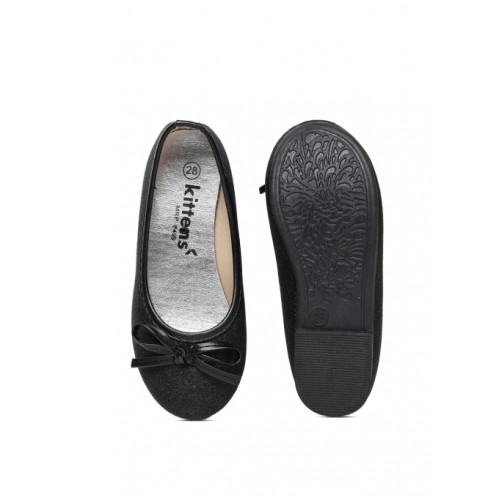 Kittens Black Synthetic Belly Shoes