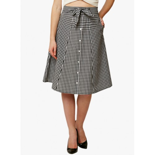 Miss Chase Grey Checked A-Line Skirt