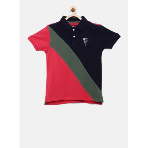 Flying Machine Navy & Red Colourblocked Polo Collar T-Shirt