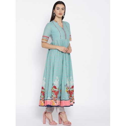 Biba Blue Cotton Printed Anarkali kurta