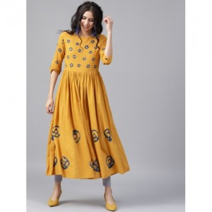 Nayo Women Mustard Yellow & Blue Dyed Anarkali Kurta