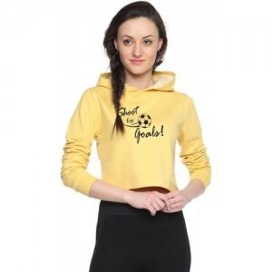 Campus Sutra Yellow Cotton Full Sleeve Printed Sweatshirt