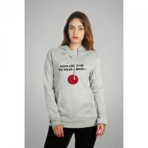 Campus Sutra Gray Cotton Full Sleeve Printed  Sweatshirt