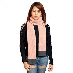 513 Knitted Pink Self Design Muffler