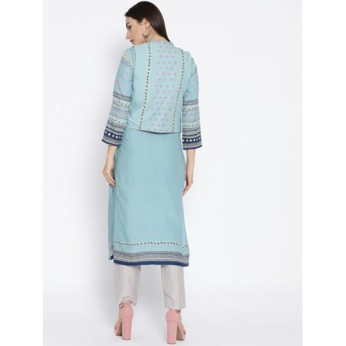 Biba Blue Cotton Slim Fit Printed Kurta