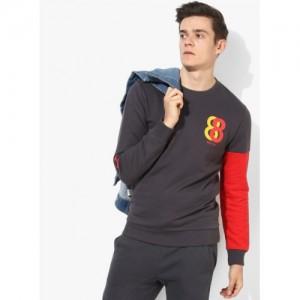 United Colors of Benetton Grey Cotton Printed Sweatshirt