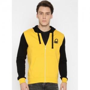 United Colors of Benetton Yellow & Black Solid Hooded Sweatshirt
