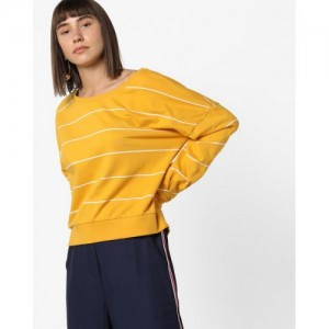 ONLY Yellow Cotton Striped with Drop-Shoulder Sleeves Sweatshirt