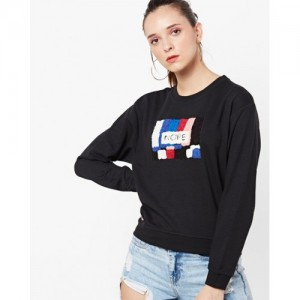ONLY Black Poly Cotton with Applique Sweatshirt