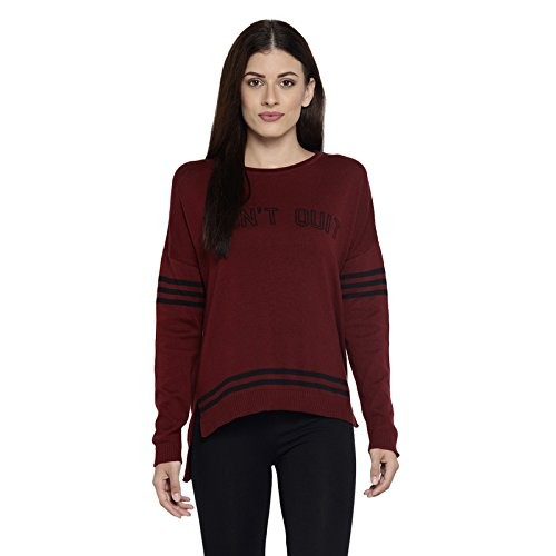 Ajile By Pantaloons Maroon Wool Round Neck Sweater