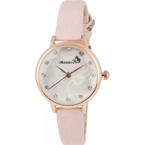 3Wish Analog White Dial and Light Pink Strap Stone Studded on Dial And Crystal Star on Glass Women's Watch Analog White Dial and Pink Strap Watch  - For Women