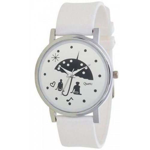 Shocknshop Analog White Artistic Design Dial  For Women