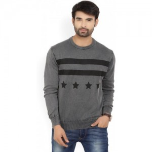 U.S. Polo Assn Printed Round Neck Casual Men's Grey Sweater