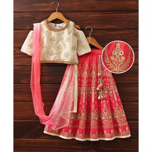 Babyhug Cold Shoulder Lehenga Choli With Dupatta