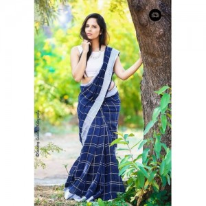 Indian Beauty Blue Linen Saree With Blouse