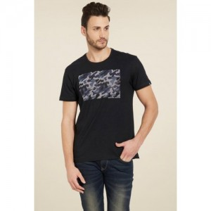 Spykar Black Printed Cotton T-Shirt