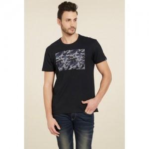 Spykar Black Printed Cotton T-Shirt