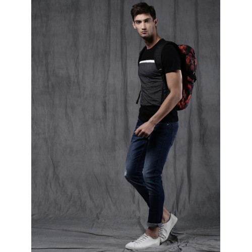 WROGN Men Black & Grey Solid Round Neck T-shirt