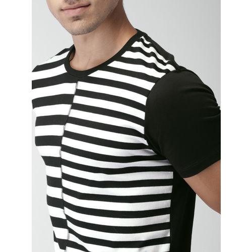 INVICTUS Black Striped Round Neck T-Shirt