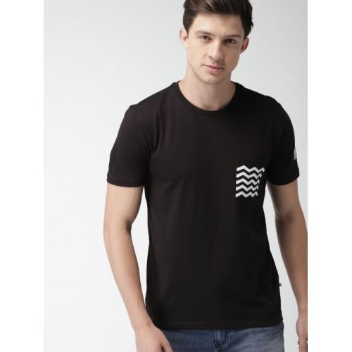 Harvard Black Solid Round Neck T-shirt with Chest Pocket