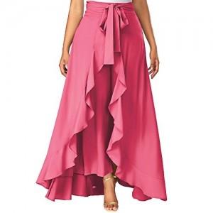 Addyvero Solid Women's Flared Pink Skirt