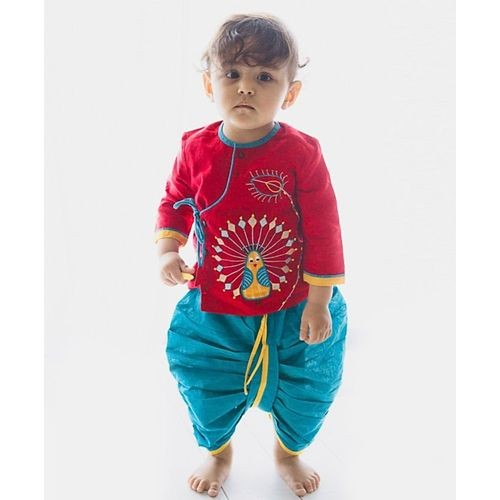 Tiber Taber Peacock Design Top & Dhoti Set - Red & Blue