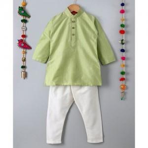 Ethnik's Neu-Ron Full Sleeves Kurta Pajama Set - Light Green White