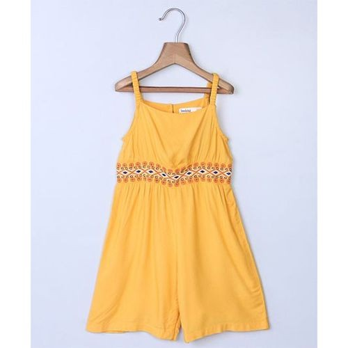 Beebay Geometric Waist Embroidered Jumpsuit - Yellow
