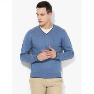 Blackberrys Blue Solid Regular Fit V Neck Sweater