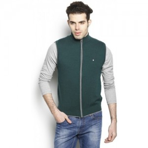 Blackberrys  Green Self Design Round Neck Casual Sweater