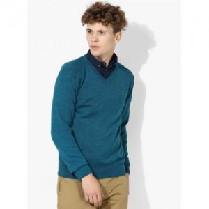 Blackberrys Aqua Blue Solid Regular Fit Round Neck Sweater