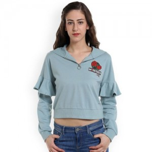 ONLY Women Green Solid Hooded Crop Sweatshirt