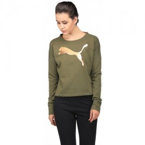 Puma Olive Green Cotton Graphic Print Women Sweatshirt