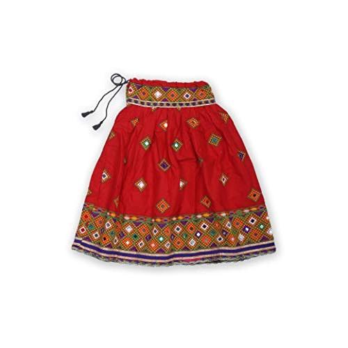Pikaboo Red Mirror Work Girls Chaniya Choli Dress (2-3 Years)
