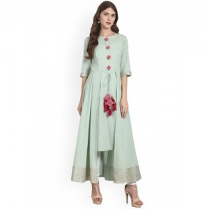 Nayo Women Green Solid Anarkali High-Low Kurta