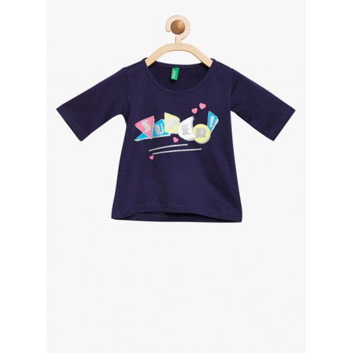 bc6f8fc1158741 ... United Colors of Benetton Navy Blue Printed Round Neck T-shirt ...