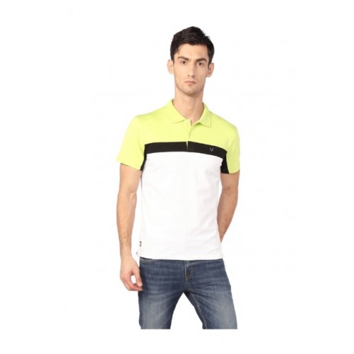 5dde2cf56c Buy Allen Solly White & Yellow Slim Fit Wimbledon Polo T-Shirt online ...