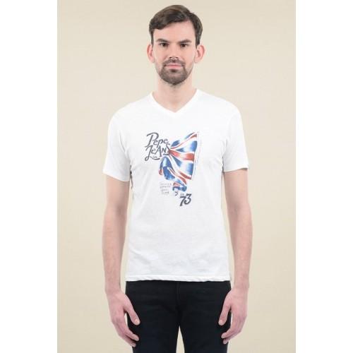 Pepe Jeans White Cotton V Neck T-Shirt