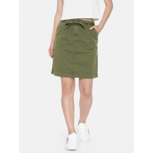 Vero Moda Olive Green Pure Cotton A-Line Skirt