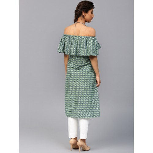 AKS Women Green Printed Off-Shoulder Straight Kurta