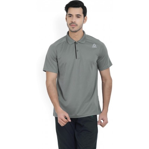 REEBOK Solid Men Polo Neck Grey T-Shirt