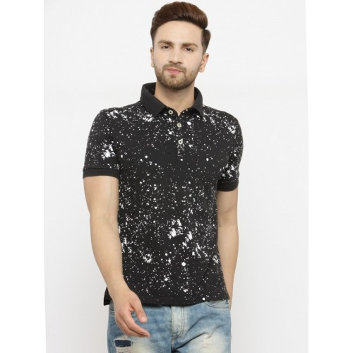 0d200f5551b Buy Monteil   Munero Printed Men Polo Neck Black T-Shirt online ...