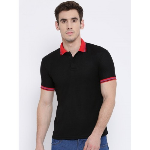 76f0c65d80 Buy TSX Solid Men Polo Neck Black T-Shirt online