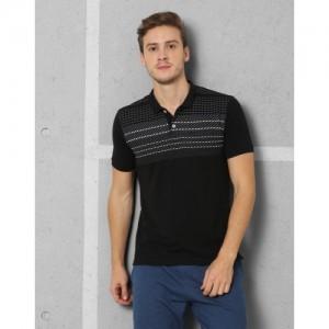 Metronaut Athleisure Printed Men's Polo Neck Black T-Shirt