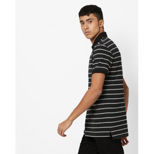 INDIAN TERRAIN Slim Fit Striped Polo T-shirt