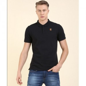 Nike Solid Men's Polo Neck Black T-Shirt