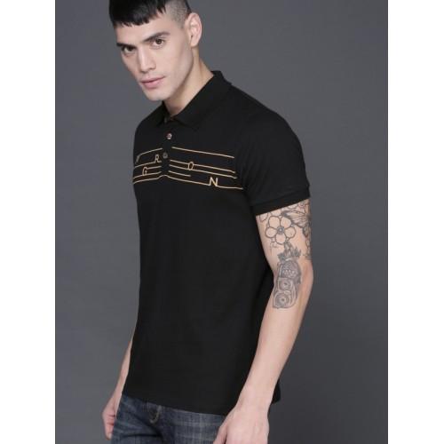 WROGN Black Printed Slim Fit Polo Collar T-shirt
